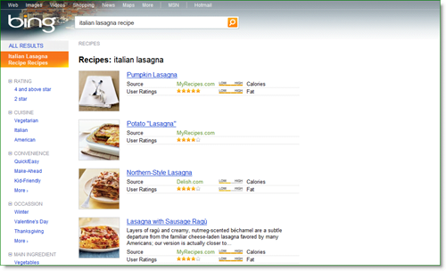 bing recipe search