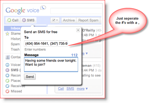 Google Voice Send SMS TXT Multiple People Screenshot