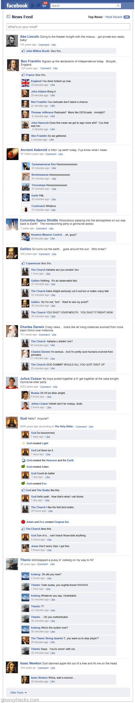 Abe lincoln and other historical figures on Facebook