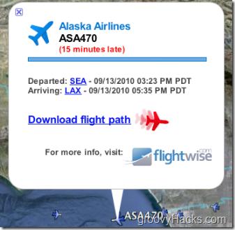 Google Flight Path tracking