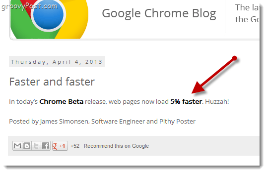 Chrome Beta - web pages load 5% faster